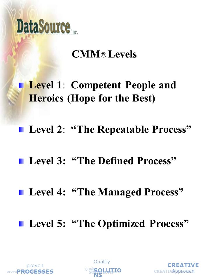 CREATIVE Approach Quality SOLUTIONS Quality SOLUTIO NS proven PROCESSES CMM ® Levels Level 1: Competent People and Heroics (Hope for the Best) Level 2: The Repeatable Process Level 3: The Defined Process Level 4: The Managed Process Level 5: The Optimized Process