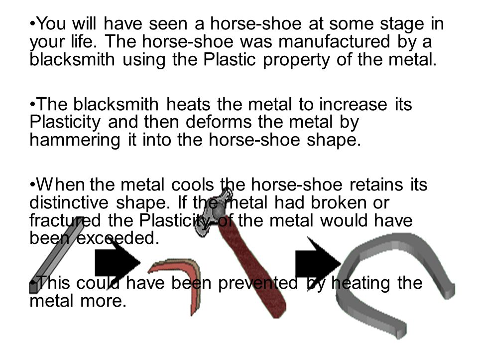 You will have seen a horse-shoe at some stage in your life. The horse-shoe was manufactured by a blacksmith using the Plastic property of the metal. T