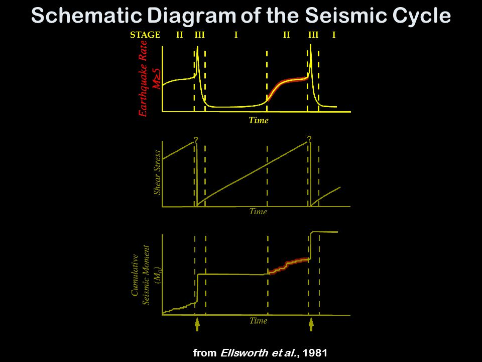 Schematic Diagram of the Seismic Cycle from Ellsworth et al., 1981