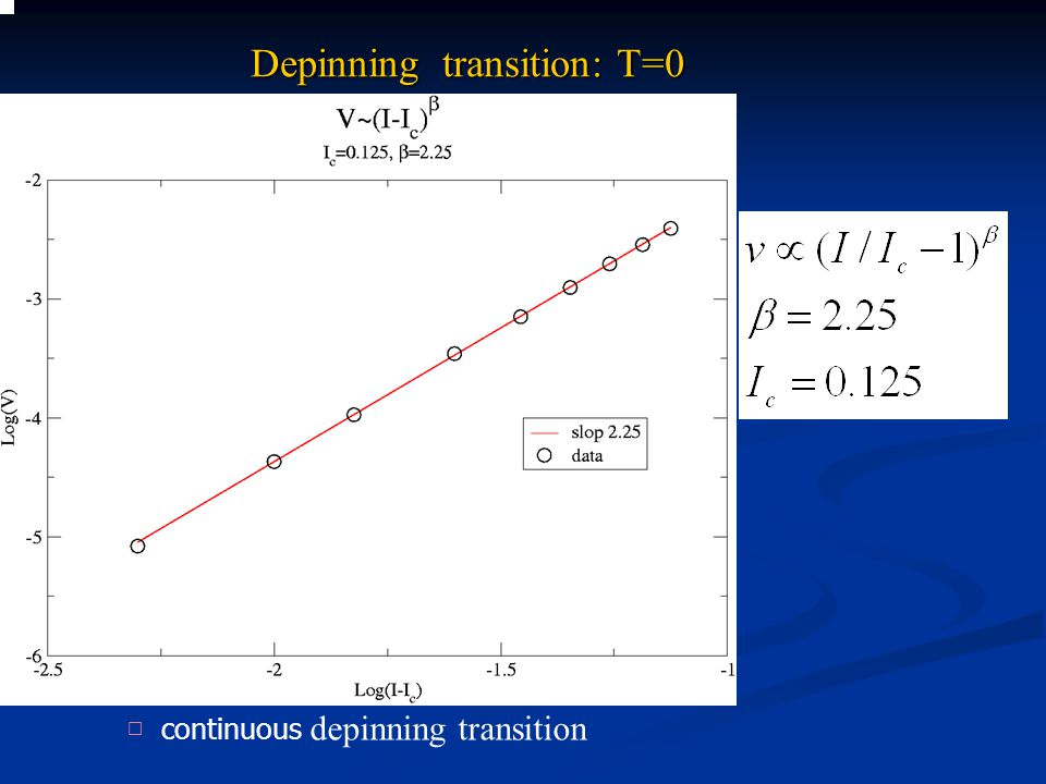 Depinning transition: T=0 □ continuous depinning transition