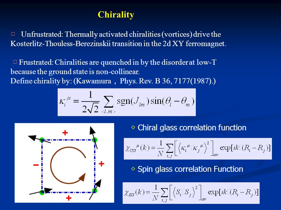 ◇ Chiral glass correlation function Chirality □ Unfrustrated: Thermally activated chiralities (vortices) drive the Kosterlitz-Thouless-Berezinskii transition in the 2d XY ferromagnet.