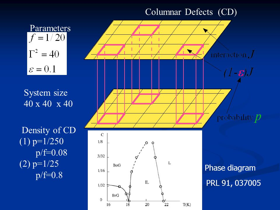 Columnar Defects (CD) Parameters Density of CD (1) p=1/250 p/f=0.08 (2) p=1/25 p/f=0.8 System size 40 x 40 x 40 Phase diagram PRL 91, 037005
