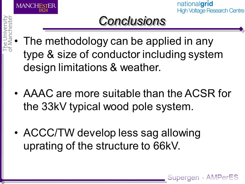 Supergen - AMPerES ConclusionsConclusions The methodology can be applied in any type & size of conductor including system design limitations & weather.