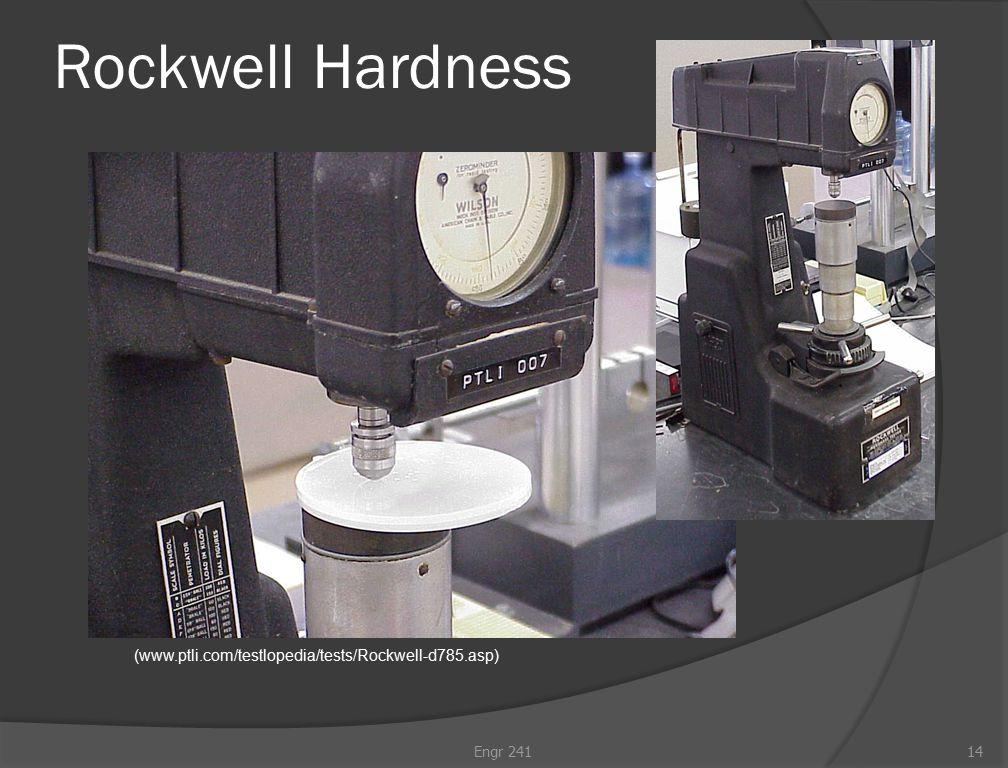 Rockwell Hardness (www.ptli.com/testlopedia/tests/Rockwell-d785.asp) Engr 24114