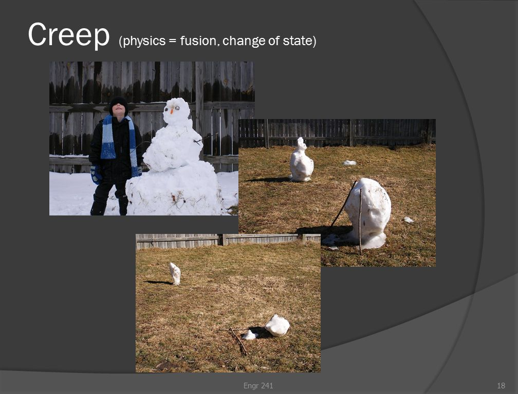 Creep (physics = fusion, change of state) Engr 24118