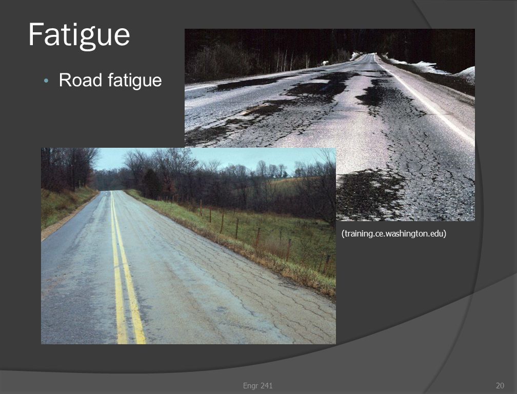 Fatigue Road fatigue Engr 24120 (training.ce.washington.edu)