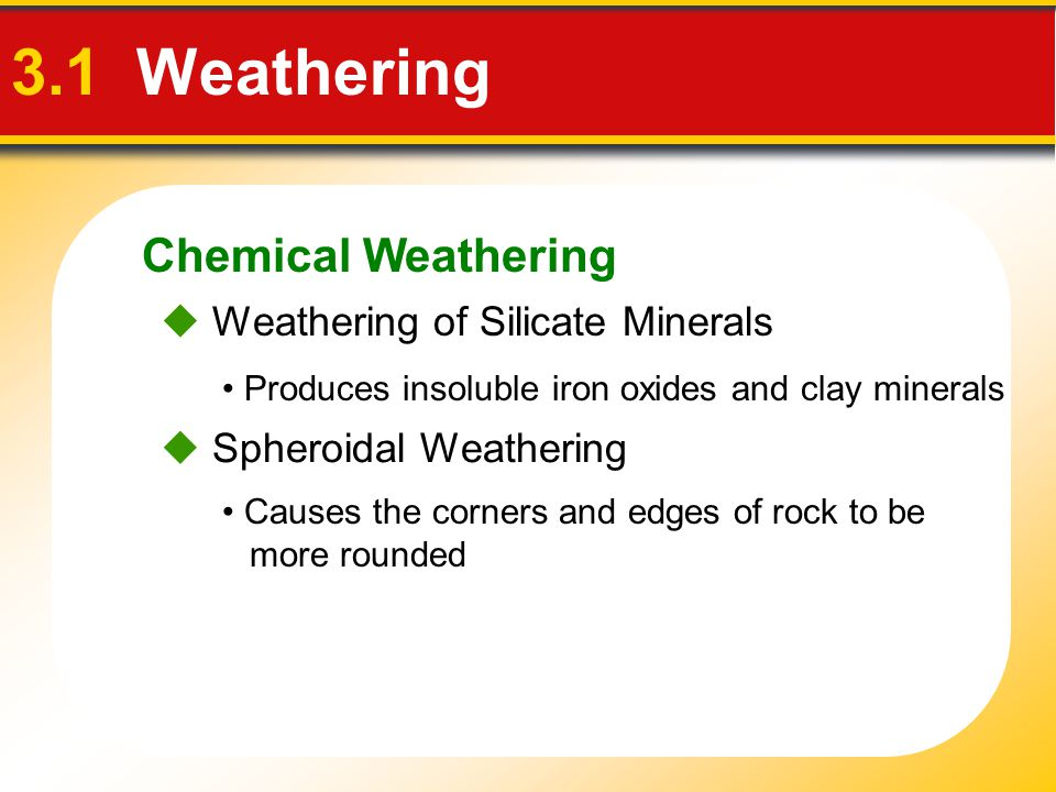 Chemical Weathering 3.1 Weathering  Weathering of Silicate Minerals Produces insoluble iron oxides and clay minerals  Spheroidal Weathering Causes t