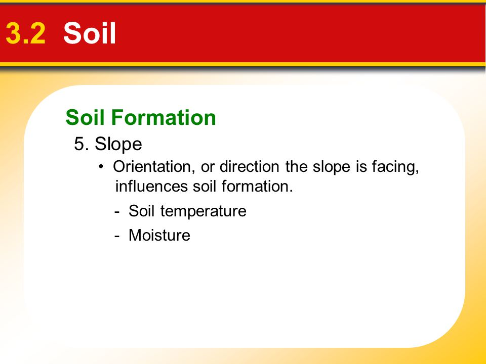 Soil Formation 3.2 Soil 5. Slope Orientation, or direction the slope is facing, influences soil formation. - Soil temperature - Moisture