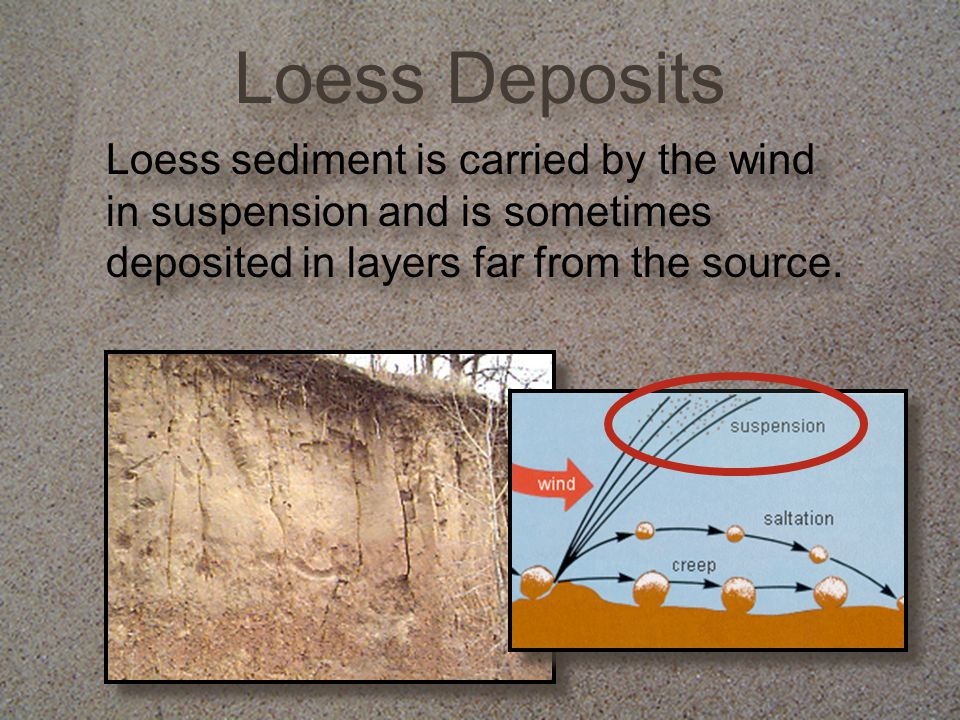 Loess Deposits Loess sediment is carried by the wind in suspension and is sometimes deposited in layers far from the source.