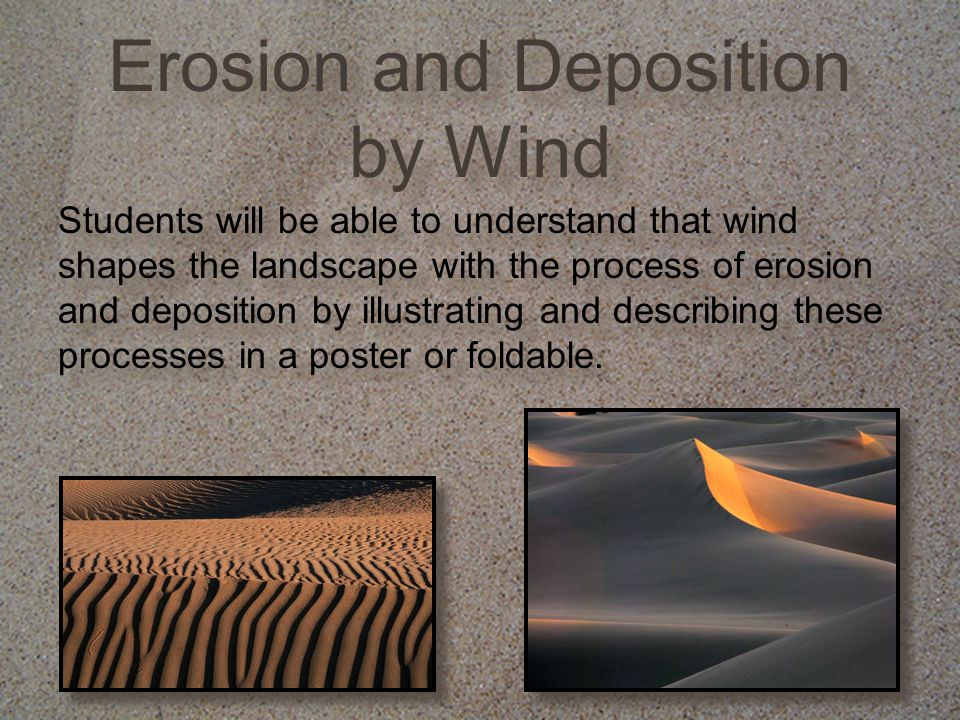 Erosion and Deposition by Wind Today we will explore how wind shapes the landscape.
