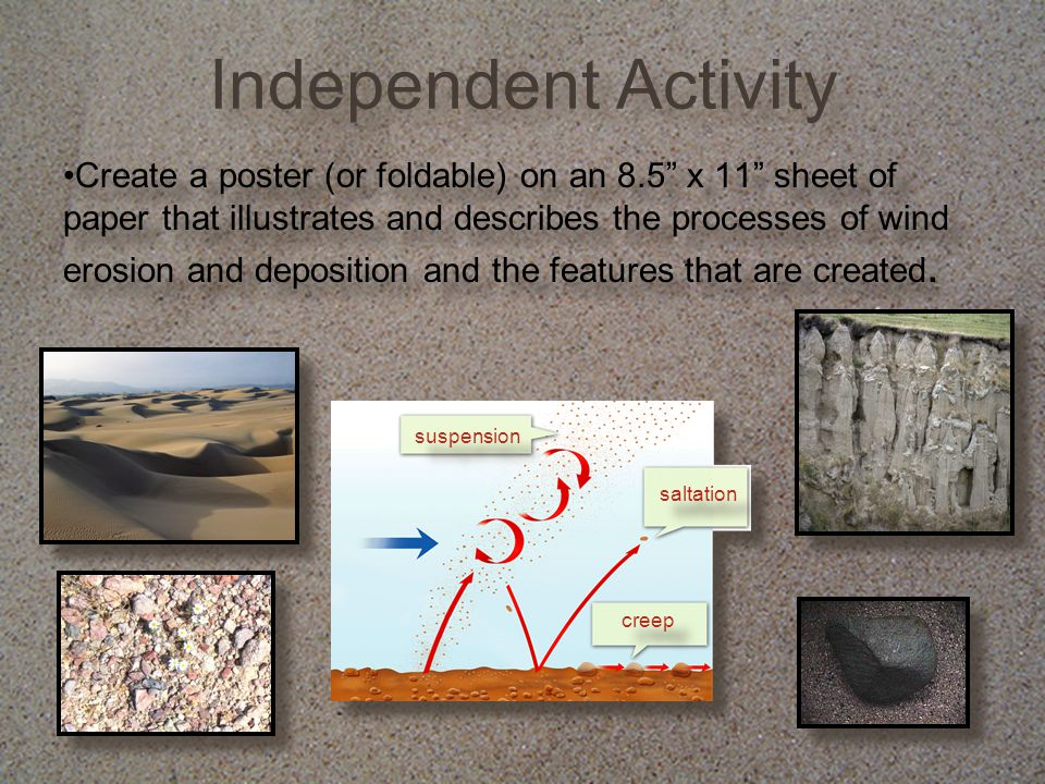 """Independent Activity Create a poster (or foldable) on an 8.5"""" x 11"""" sheet of paper that illustrates and describes the processes of wind erosion and de"""