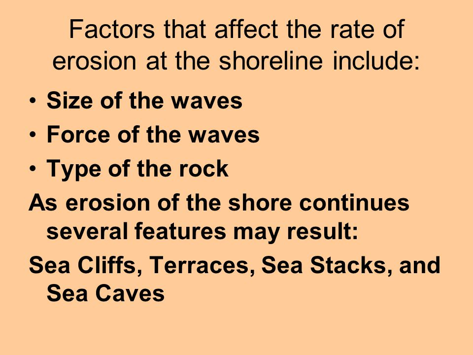 Factors that affect the rate of erosion at the shoreline include: Size of the waves Force of the waves Type of the rock As erosion of the shore contin