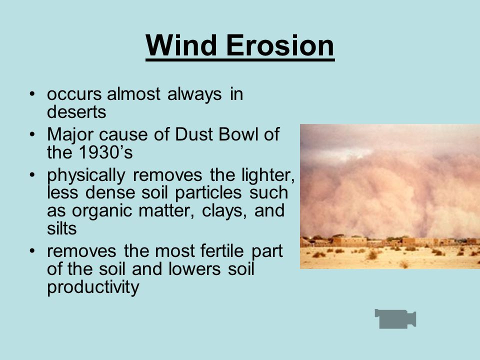 Wind Erosion occurs almost always in deserts Major cause of Dust Bowl of the 1930's physically removes the lighter, less dense soil particles such as