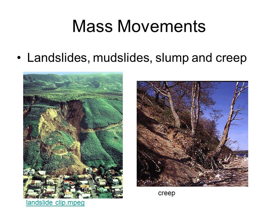 Mass Movements Landslides, mudslides, slump and creep landslide clip.mpeg creep