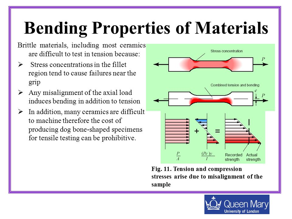 Bending Properties of Materials Brittle materials, including most ceramics are difficult to test in tension because:  Stress concentrations in the fi