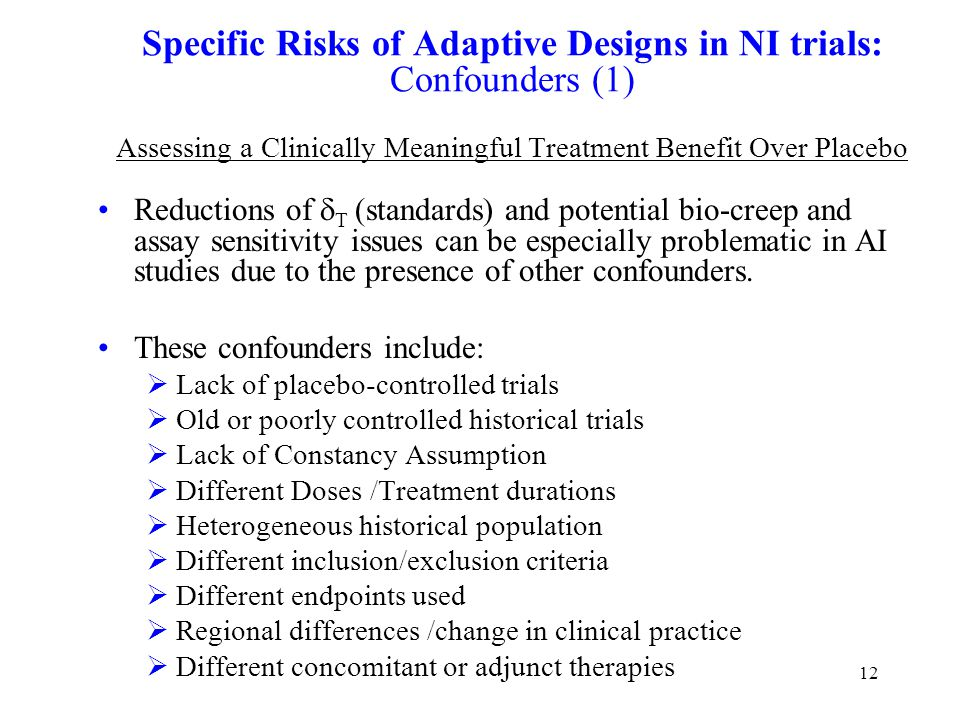 12 Specific Risks of Adaptive Designs in NI trials: Confounders (1) Assessing a Clinically Meaningful Treatment Benefit Over Placebo Reductions of  T (standards) and potential bio-creep and assay sensitivity issues can be especially problematic in AI studies due to the presence of other confounders.