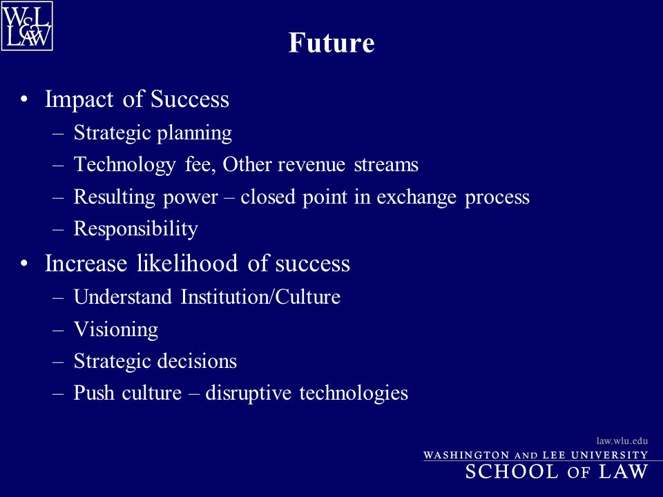 Future Impact of Success –Strategic planning –Technology fee, Other revenue streams –Resulting power – closed point in exchange process –Responsibilit