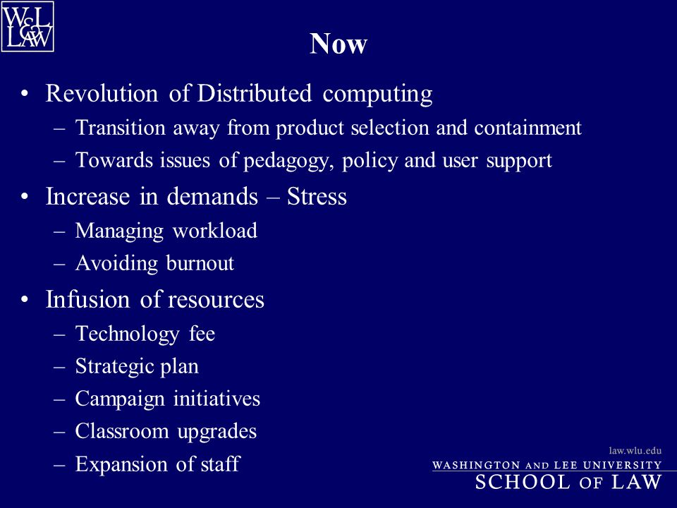 Now Revolution of Distributed computing –Transition away from product selection and containment –Towards issues of pedagogy, policy and user support I