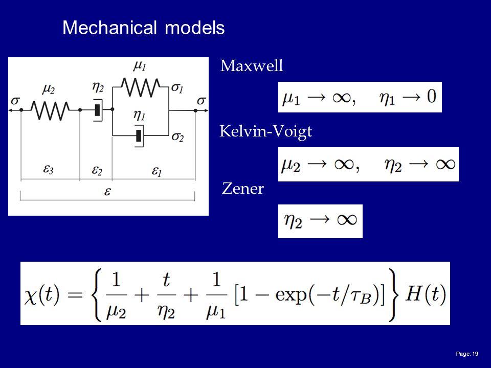 Page: 19 Mechanical models Maxwell Kelvin-Voigt Zener