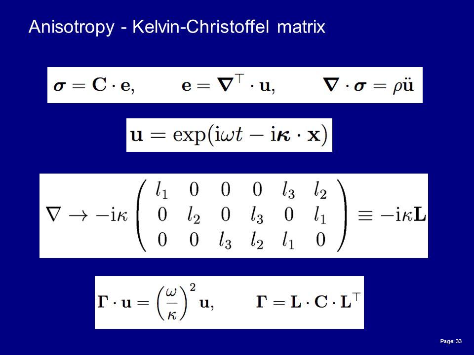 Page: 33 Anisotropy - Kelvin-Christoffel matrix
