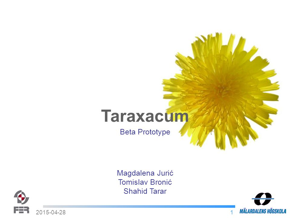 12015-04-28 Taraxacum Magdalena Jurić Tomislav Bronić Shahid Tarar Beta Prototype