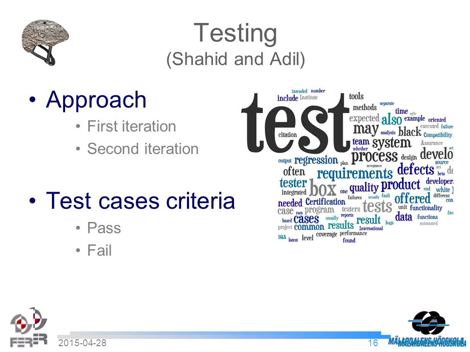 162015-04-28 Testing (Shahid and Adil) Approach First iteration Second iteration Test cases criteria Pass Fail