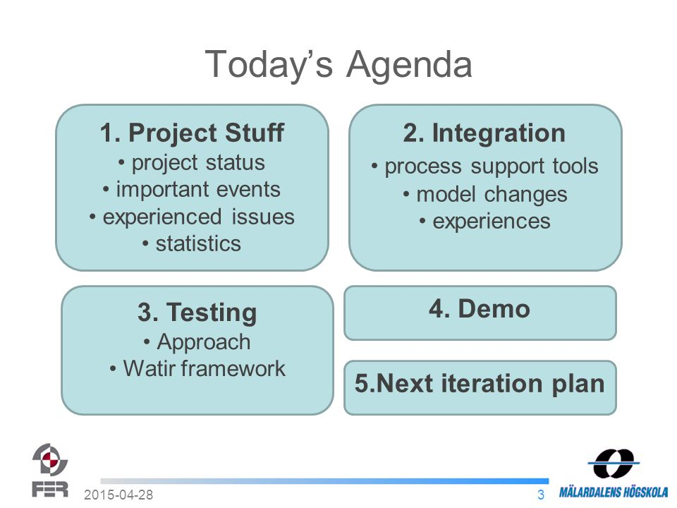 3 Today's Agenda 1. Project Stuff project status important events experienced issues statistics 2.
