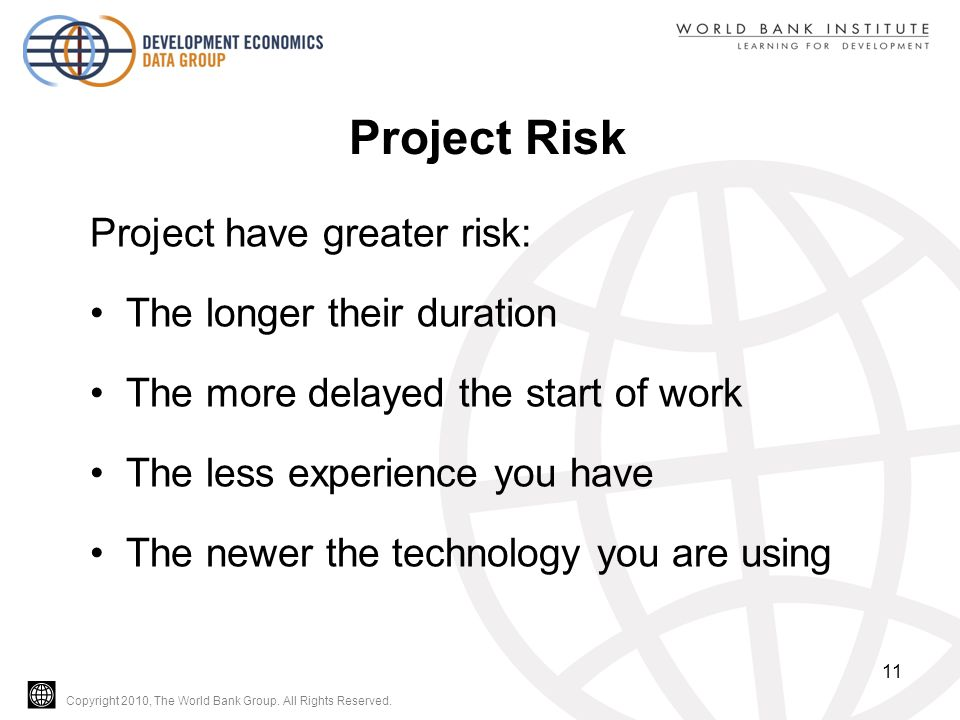 Copyright 2010, The World Bank Group. All Rights Reserved. Project Risk Project have greater risk: The longer their duration The more delayed the star
