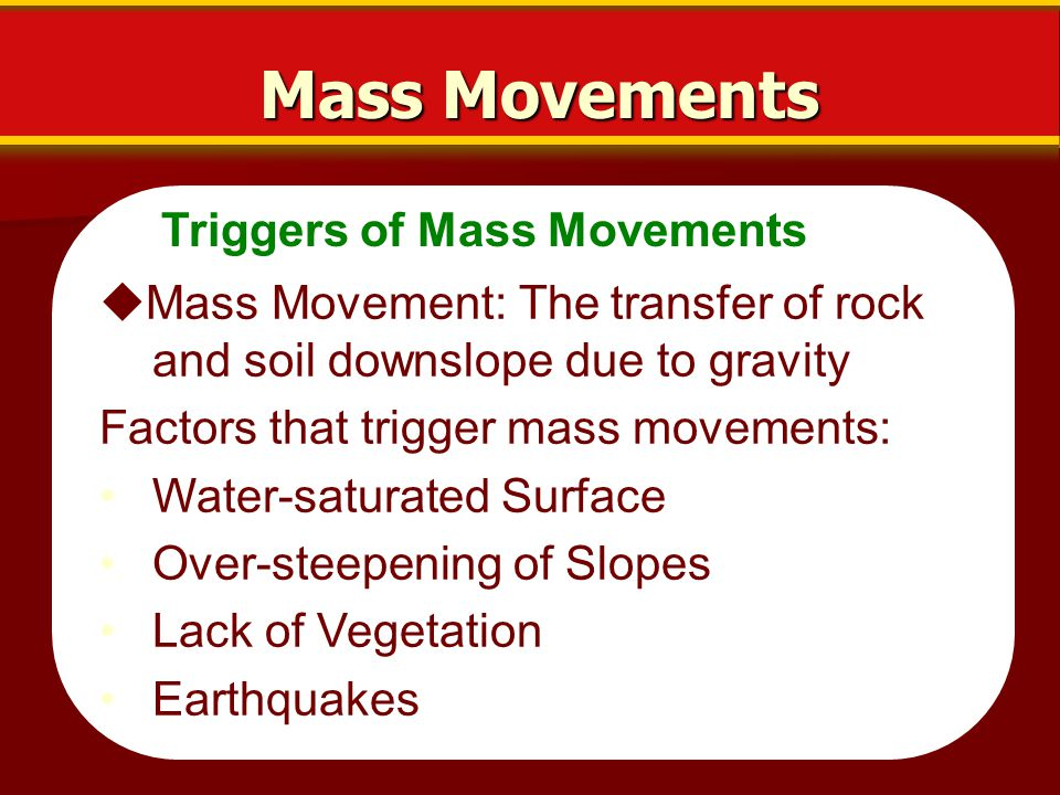 Types of Mass Movements Mass Movements  Mass movements are classified on the kind of material that moves, how it moves, and the speed of movement.