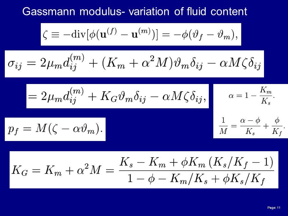 Page: 11 Gassmann modulus- variation of fluid content