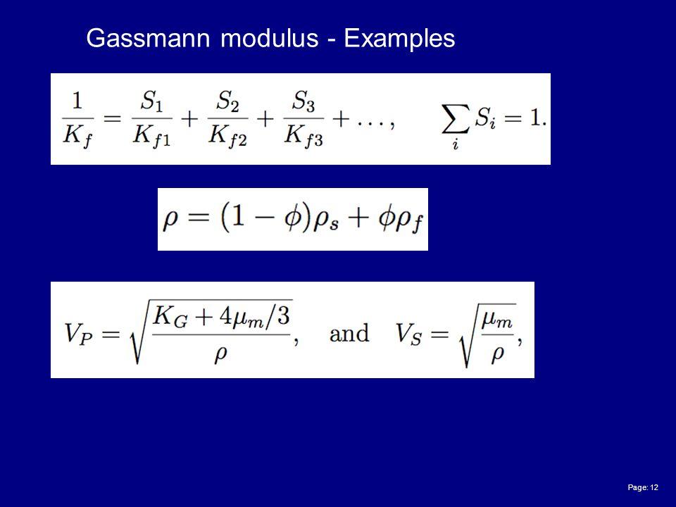 Page: 12 Gassmann modulus - Examples