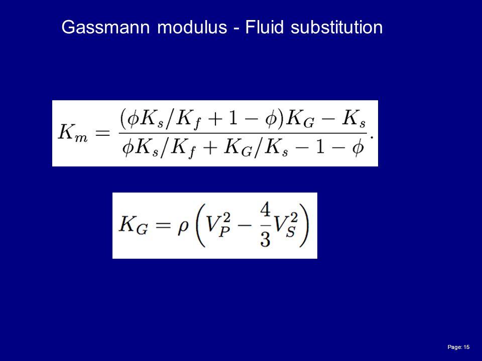Page: 15 Gassmann modulus - Fluid substitution