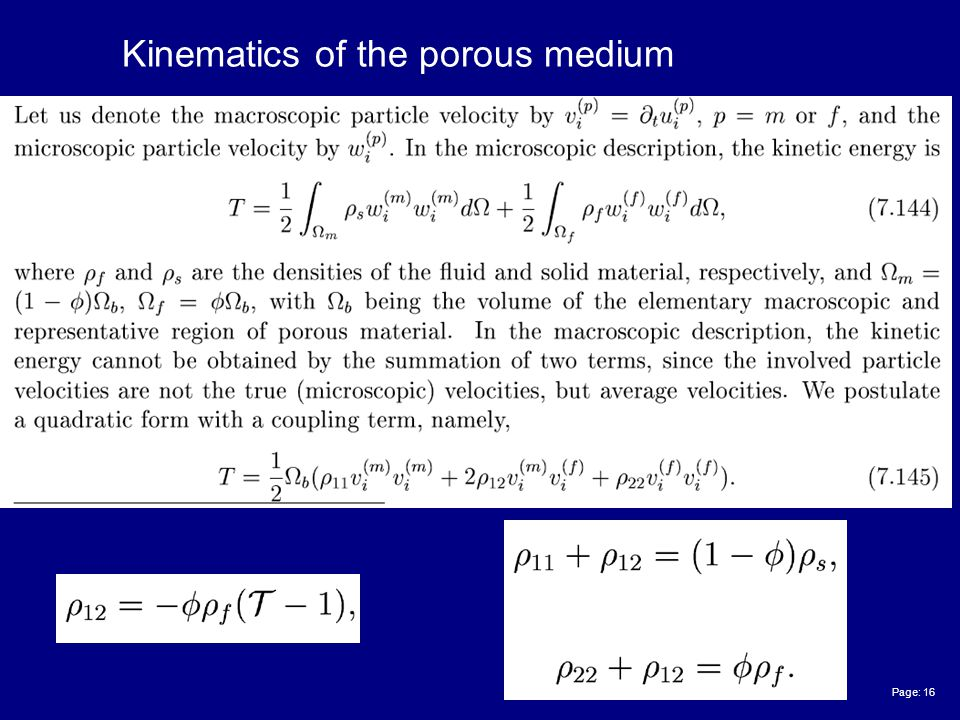 Page: 16 Kinematics of the porous medium