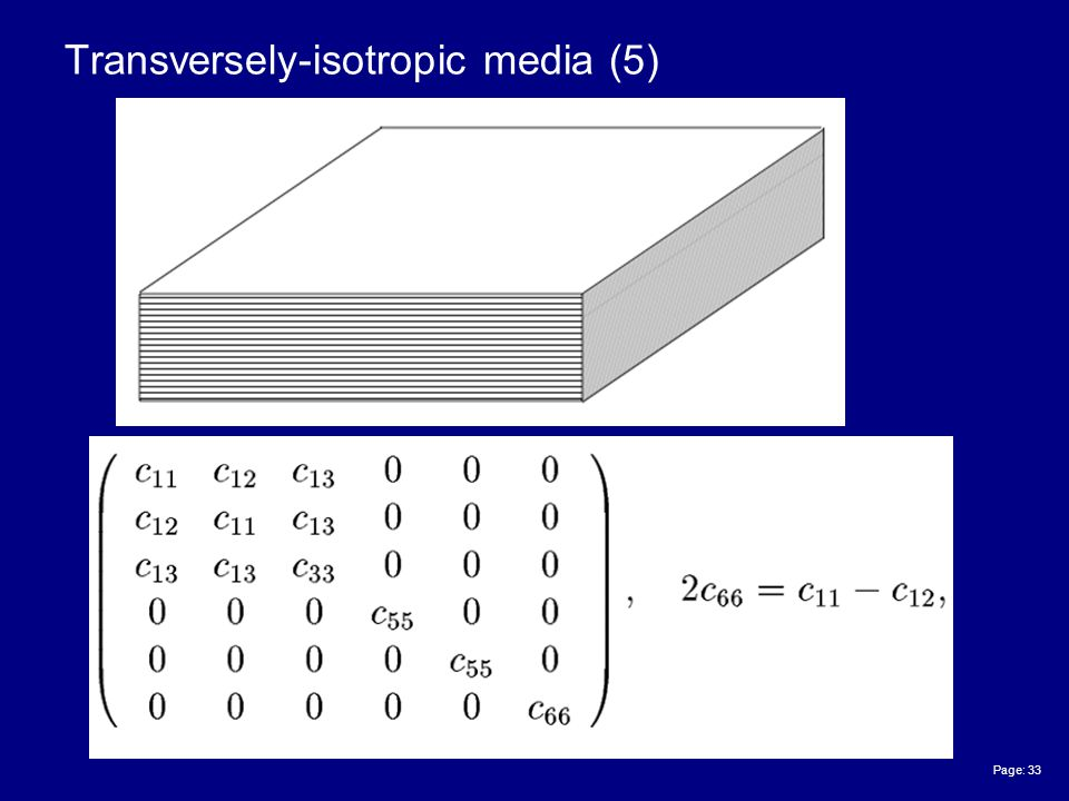 Page: 33 Transversely-isotropic media (5)