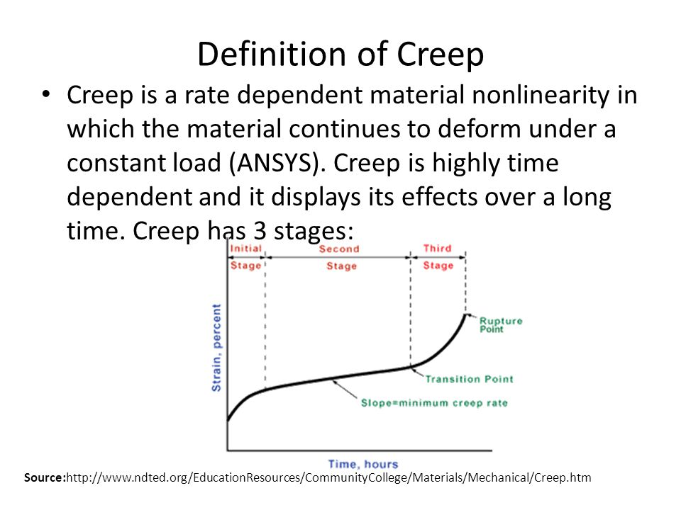 Definition of Creep Creep is a rate dependent material nonlinearity in which the material continues to deform under a constant load (ANSYS).