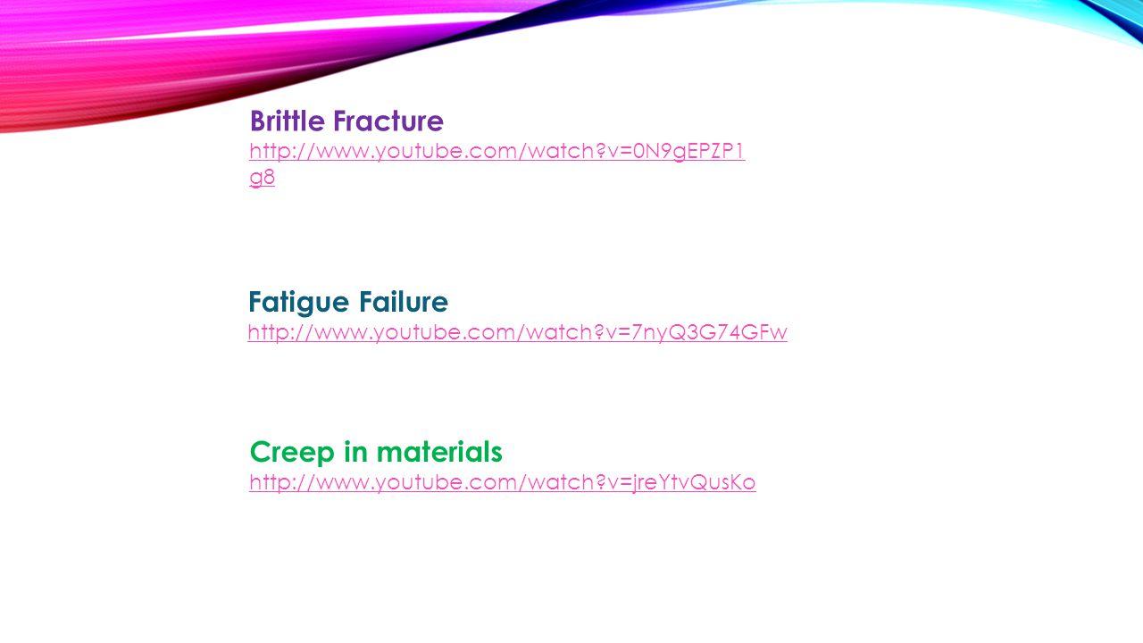 Creep in materials http://www.youtube.com/watch v=jreYtvQusKo Fatigue Failure http://www.youtube.com/watch v=7nyQ3G74GFw Brittle Fracture http://www.youtube.com/watch v=0N9gEPZP1 g8