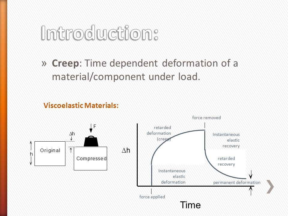 » Creep: Time dependent deformation of a material/component under load. Viscoelastic Materials: Original h F Compressed ∆h Instantaneous elastic defor