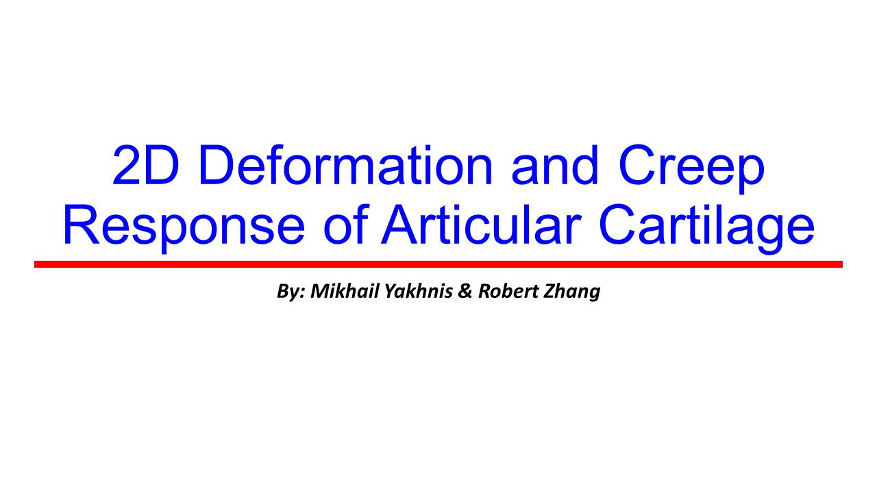 2D Deformation and Creep Response of Articular Cartilage By: Mikhail Yakhnis & Robert Zhang