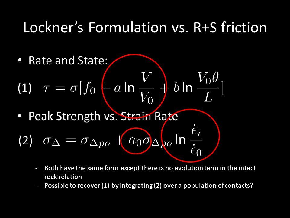 Lockner's Formulation vs. R+S friction Rate and State: Peak Strength vs.