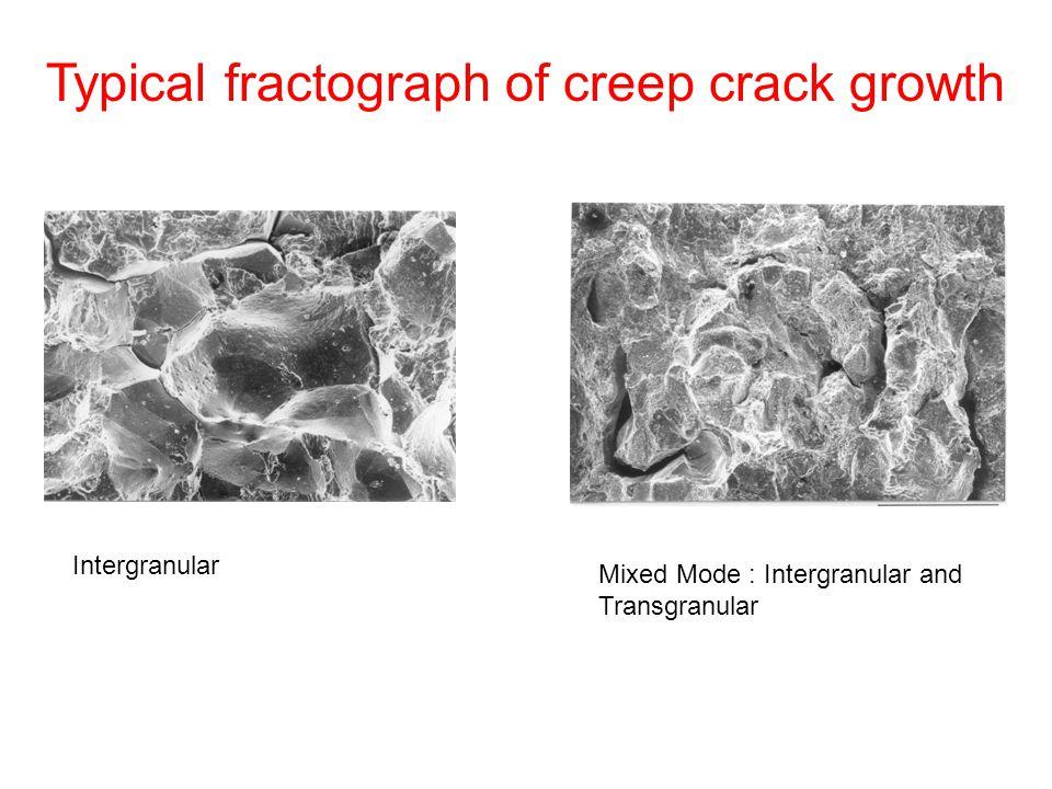 Typical fractograph of creep crack growth Mixed Mode : Intergranular and Transgranular Intergranular