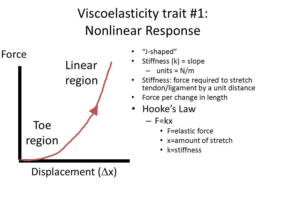 Viscoelasticity trait #1: Nonlinear Response J-shaped Stiffness (k) = slope – units = N/m Stiffness: force required to stretch tendon/ligament by a unit distance Force per change in length Hooke's Law – F=kx F=elastic force x=amount of stretch k=stiffness Force Displacement (  x) Toe region Linear region