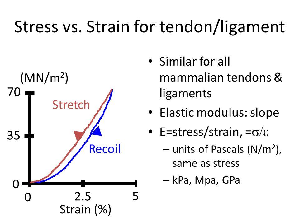Stress vs. Strain for tendon/ligament Similar for all mammalian tendons & ligaments Elastic modulus: slope E=stress/strain, =  – units of Pascals (