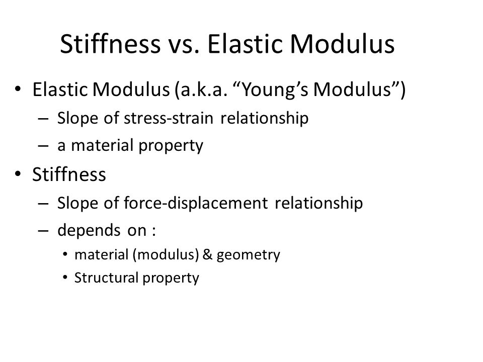 Stiffness vs.Elastic Modulus Elastic Modulus (a.k.a.