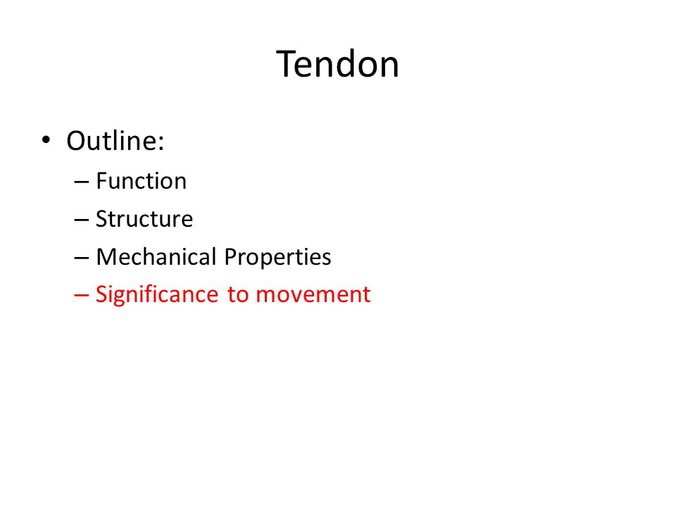 Tendon Outline: – Function – Structure – Mechanical Properties – Significance to movement