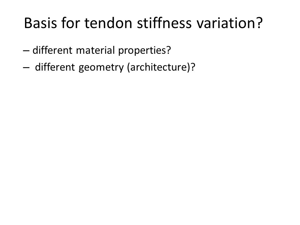 Basis for tendon stiffness variation? – different material properties? – different geometry (architecture)?