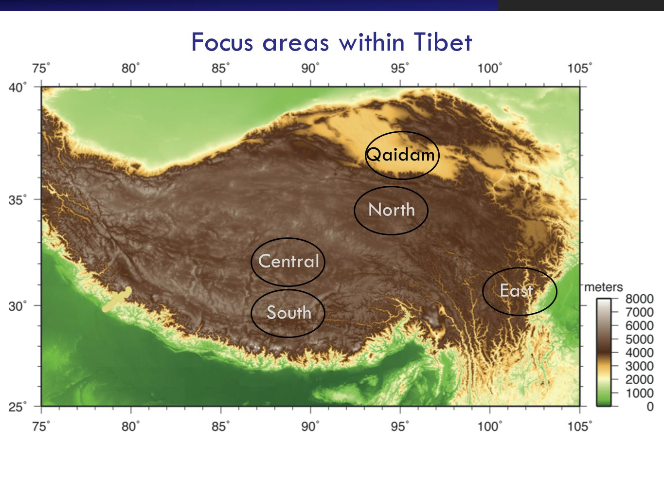 Focus areas within Tibet South Central North Qaidam East