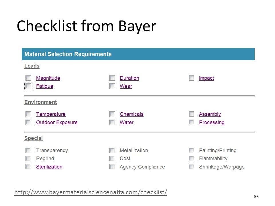 Checklist from Bayer http://www.bayermaterialsciencenafta.com/checklist/ 56