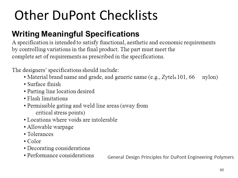 DuPont Example General Design Principles for DuPont Engineering Polymers 61