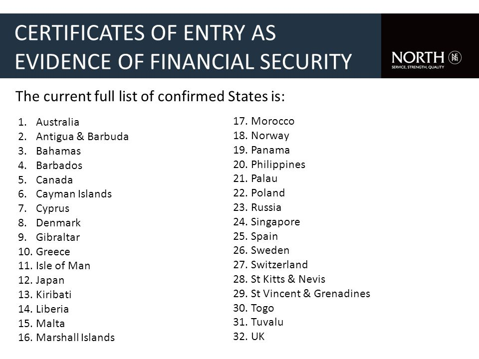 CERTIFICATES OF ENTRY AS EVIDENCE OF FINANCIAL SECURITY The current full list of confirmed States is: 1.Australia 2.Antigua & Barbuda 3.Bahamas 4.Barbados 5.Canada 6.Cayman Islands 7.Cyprus 8.Denmark 9.Gibraltar 10.Greece 11.Isle of Man 12.Japan 13.Kiribati 14.Liberia 15.Malta 16.Marshall Islands 17.Morocco 18.Norway 19.Panama 20.Philippines 21.Palau 22.Poland 23.Russia 24.Singapore 25.Spain 26.Sweden 27.Switzerland 28.St Kitts & Nevis 29.St Vincent & Grenadines 30.Togo 31.Tuvalu 32.UK
