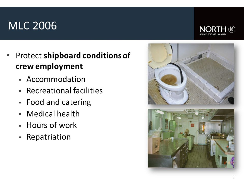 MLC 2006 Protect shipboard conditions of crew employment  Accommodation  Recreational facilities  Food and catering  Medical health  Hours of work  Repatriation 5